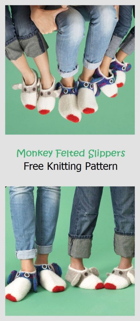 Monkey Felted Slippers Free Knitting Pattern