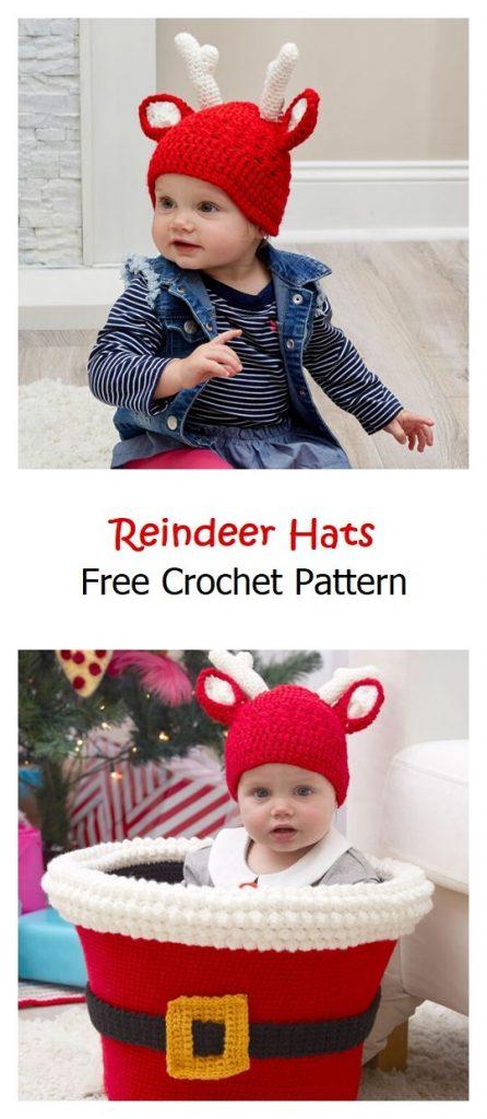 Reindeer Hats Free Crochet Pattern