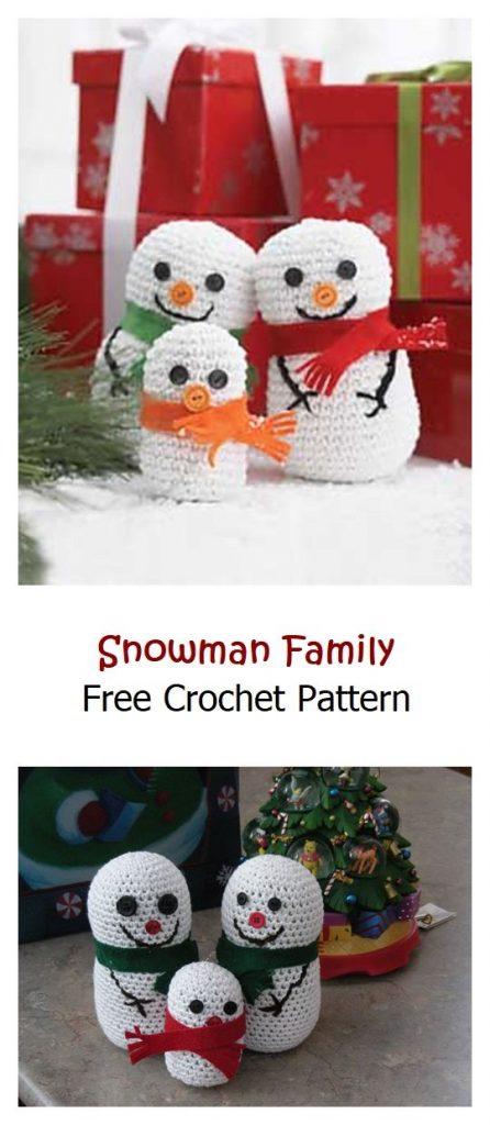 Snowman Family Free Crochet Pattern