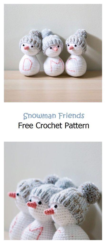 Snowman Friends Free Amigurumi Pattern