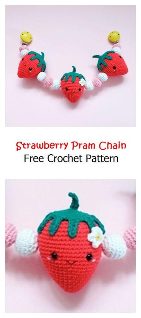 Strawberry Pram Chain Free Crochet Pattern
