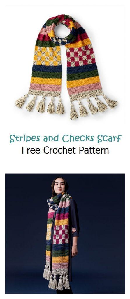 Stripes and Checks Scarf Free Crochet Pattern