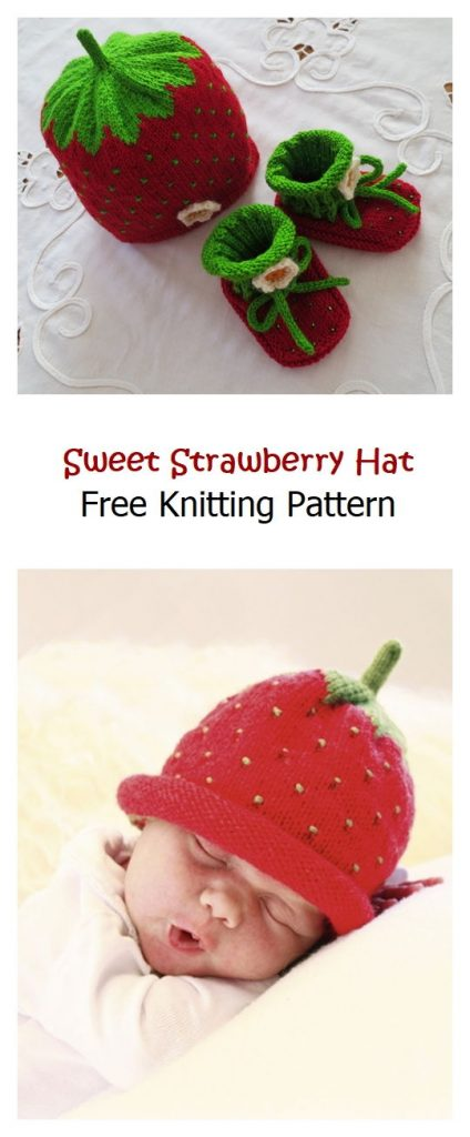 Sweet Strawberry Hat Free Knitting Pattern