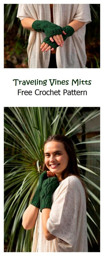 Traveling Vines Mitts Free Crochet Pattern