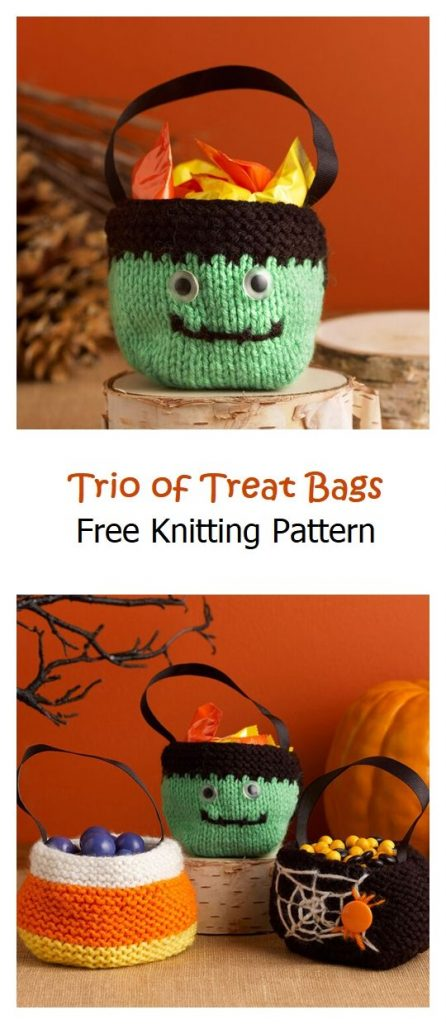 Trio of Treat Bags Free Knitting Pattern
