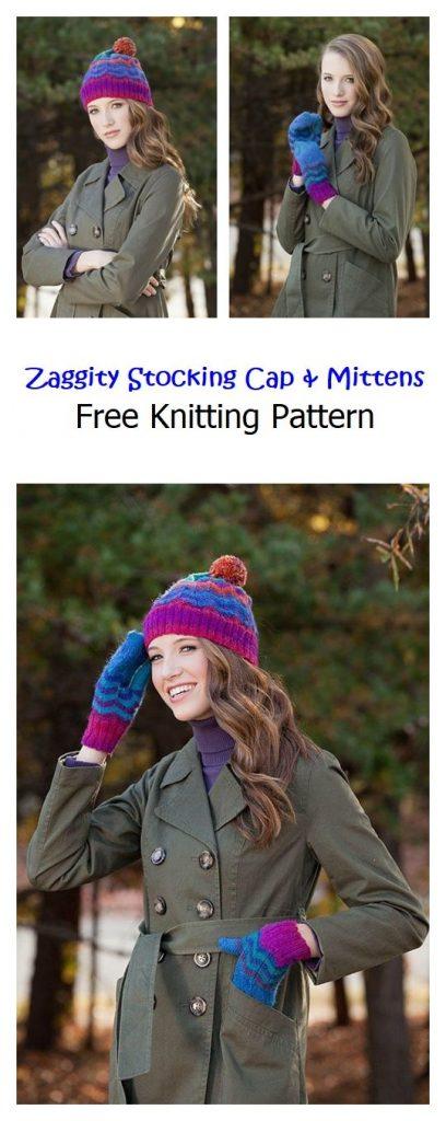 Zaggity Stocking Cap and Mittens Free Pattern