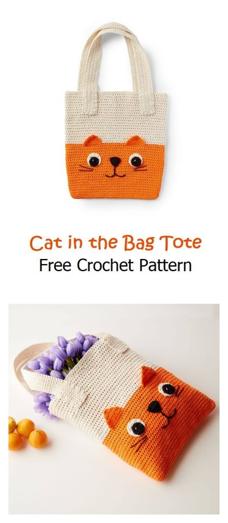 Cat in the Bag Tote Free Crochet Pattern