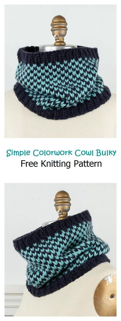 Simple Colorwork Cowl Bulky Free Pattern