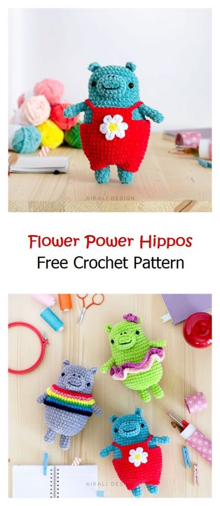 Flower Power Hippos Free Crochet Pattern