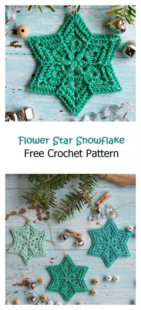 Flower Star Snowflake Free Crochet Pattern
