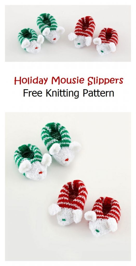 Holiday Mousie Slippers Free Knitting Pattern