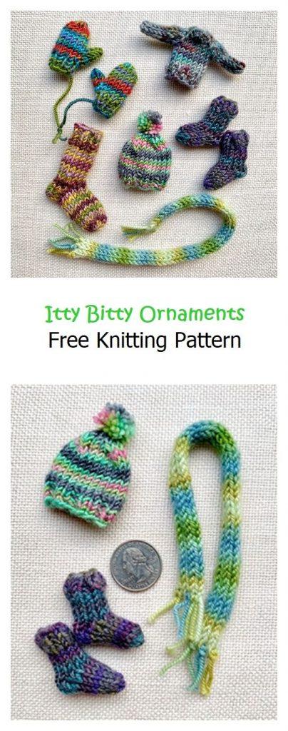 Itty Bitty Ornaments Free Knitting Pattern