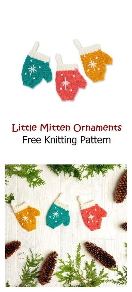 Little Mitten Ornaments Free Knitting Pattern