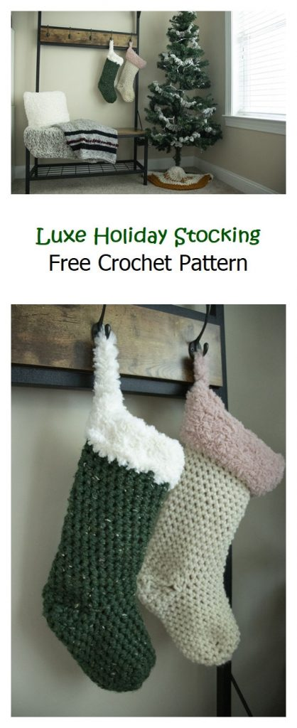 Luxe Holiday Stocking Free Crochet Pattern