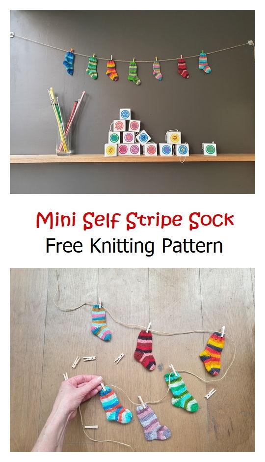 Mini Self Stripe Sock Free Knitting Pattern