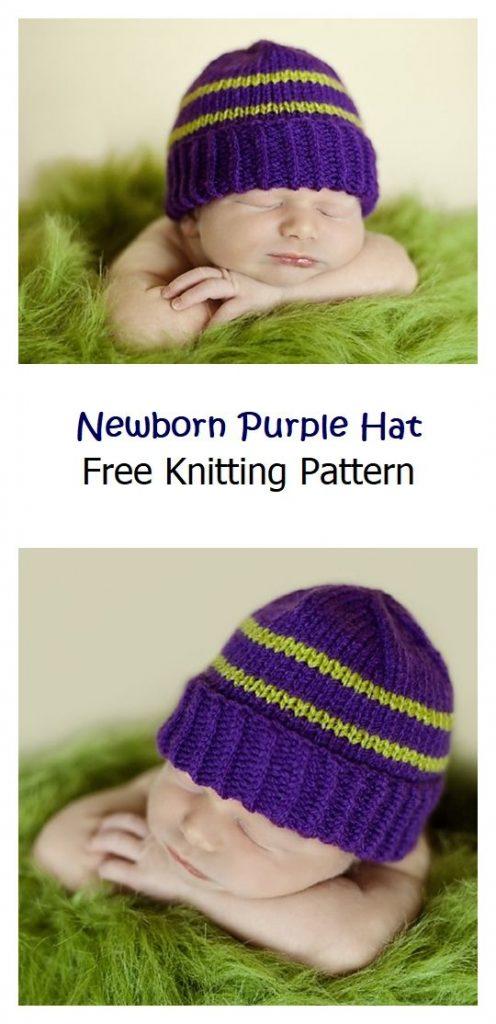 Newborn Purple Hat Free Knitting Pattern