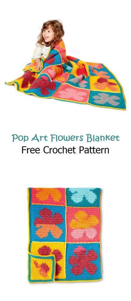 Pop Art Flowers Blanket Free Crochet Pattern