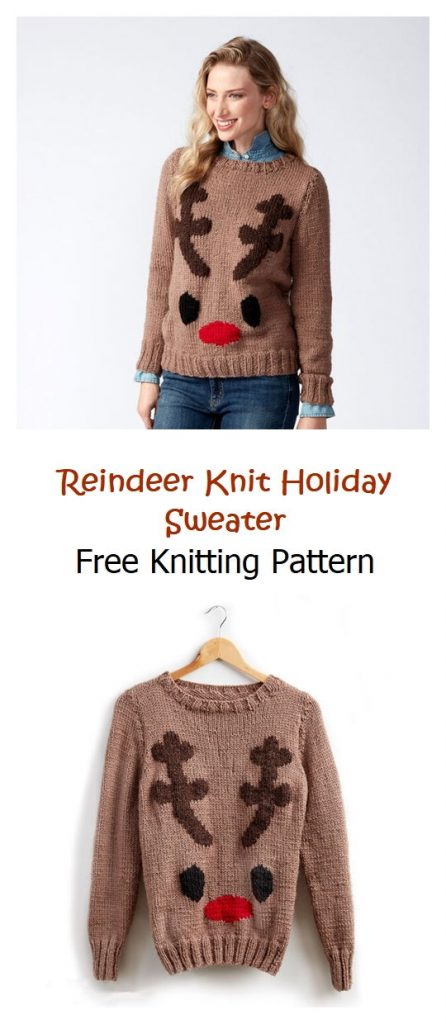 Reindeer Knit Holiday Sweater Free Pattern