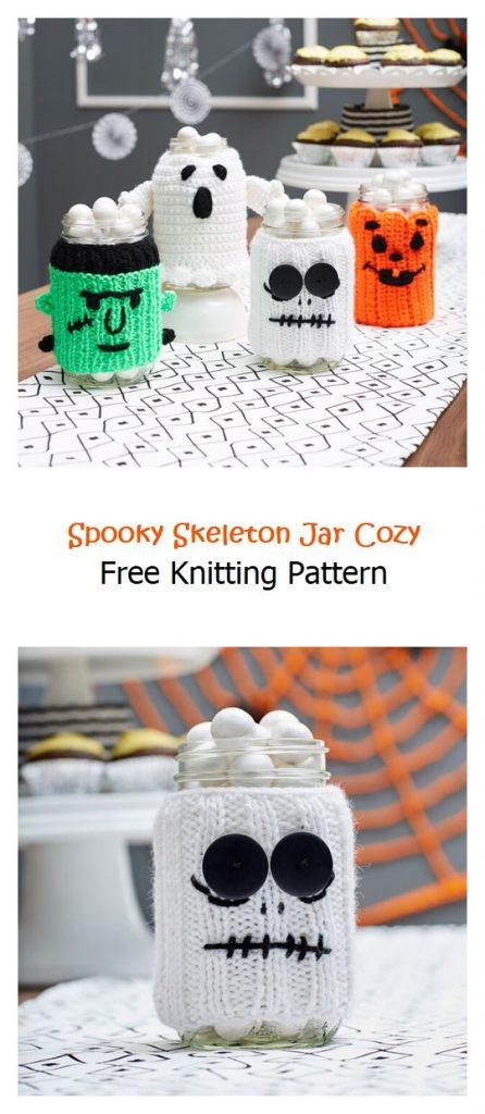 Spooky Skeleton Jar Cozy Free Knitting Pattern