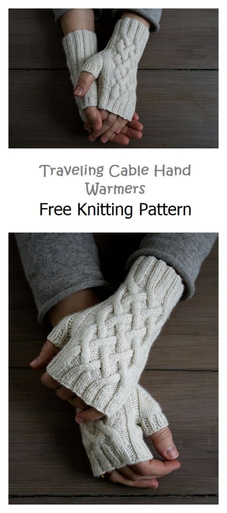Traveling Cable Hand Warmers Free Pattern