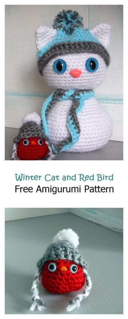 Winter Cat and Red Bird Free Crochet Pattern