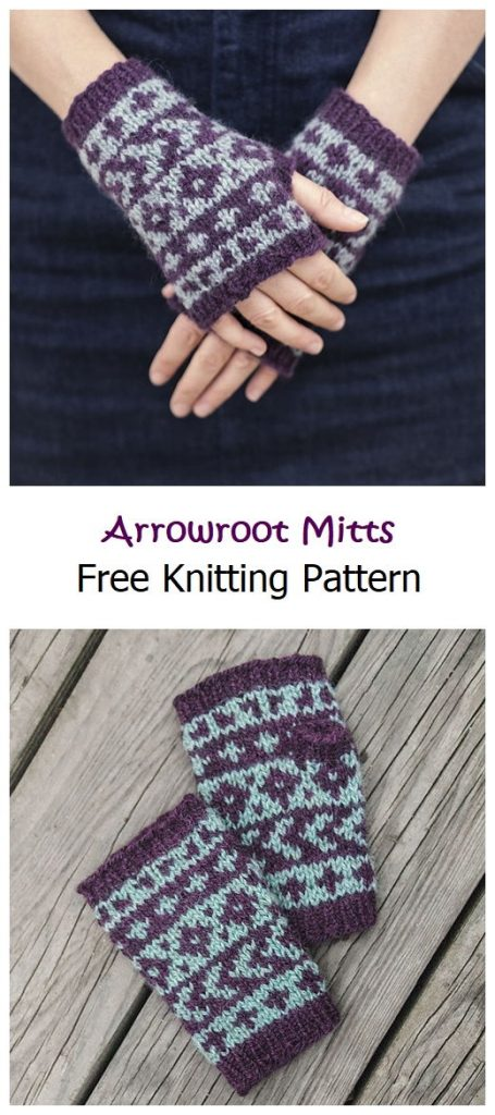 Arrowroot Mitts Free Knitting Pattern