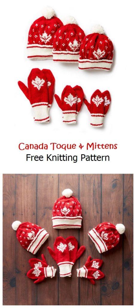 Canada Toque & Mittens Free Pattern