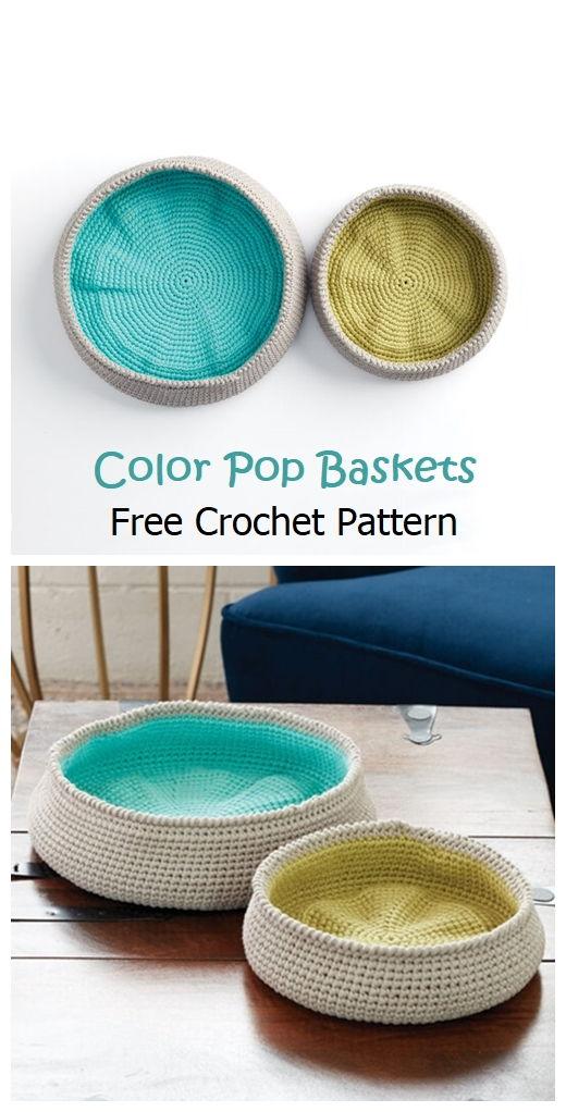 Color Pop Baskets Free Crochet Pattern