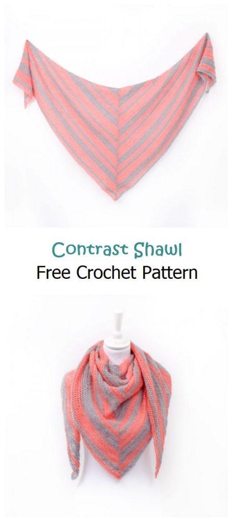 Contrast Shawl Free Crochet Pattern
