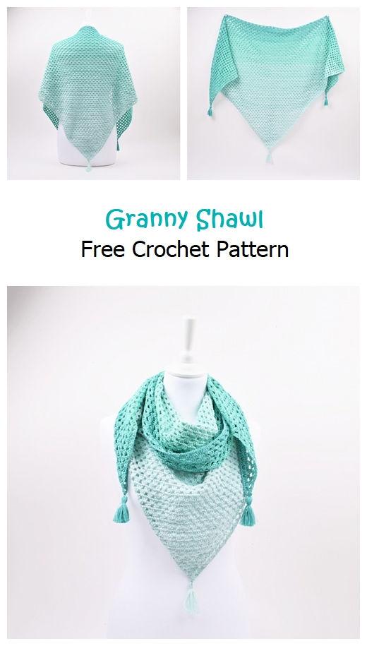 Granny Shawl Free Crochet Pattern