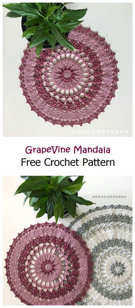 GrapeVine Mandala Free Crochet Pattern