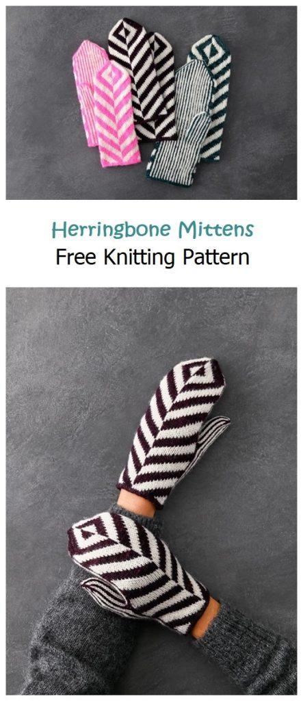 Herringbone Mittens Free Knitting Pattern