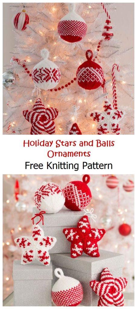 Holiday Stars and Balls Ornaments Free Pattern