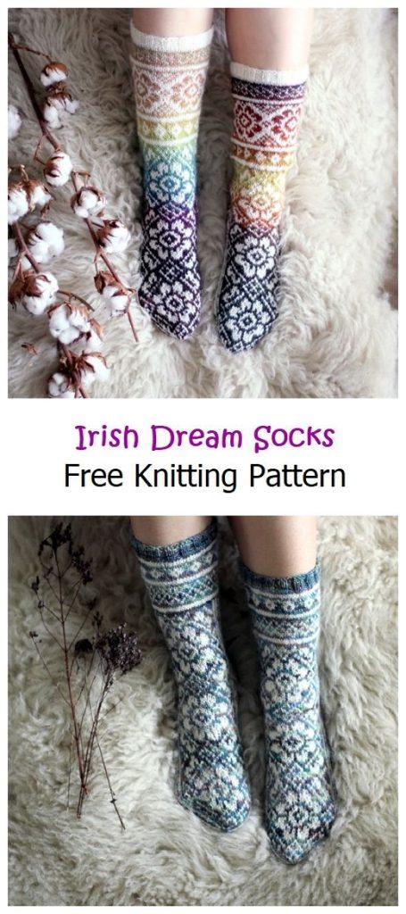 Irish Dream Socks Free Knitting Pattern
