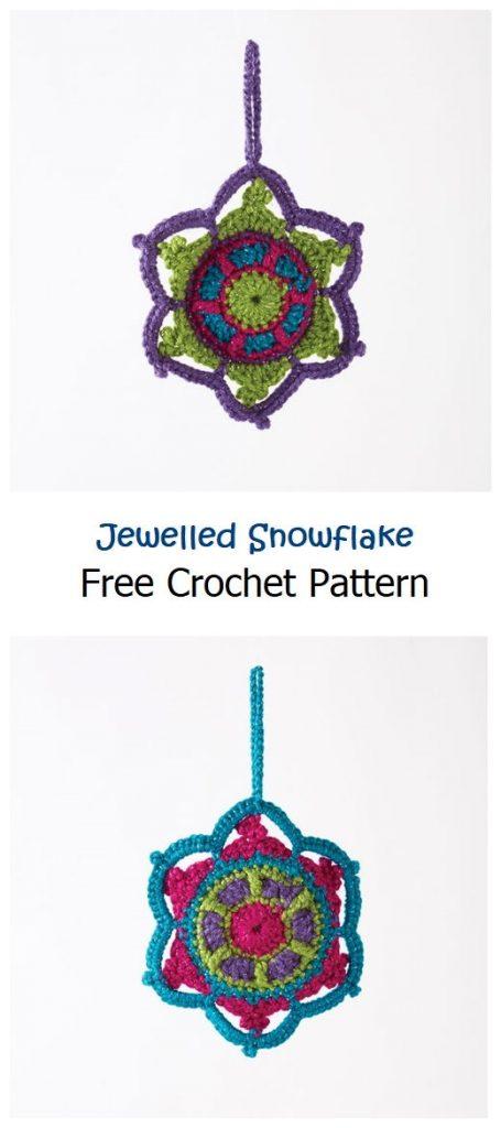 Jewelled Snowflake Free Crochet Pattern