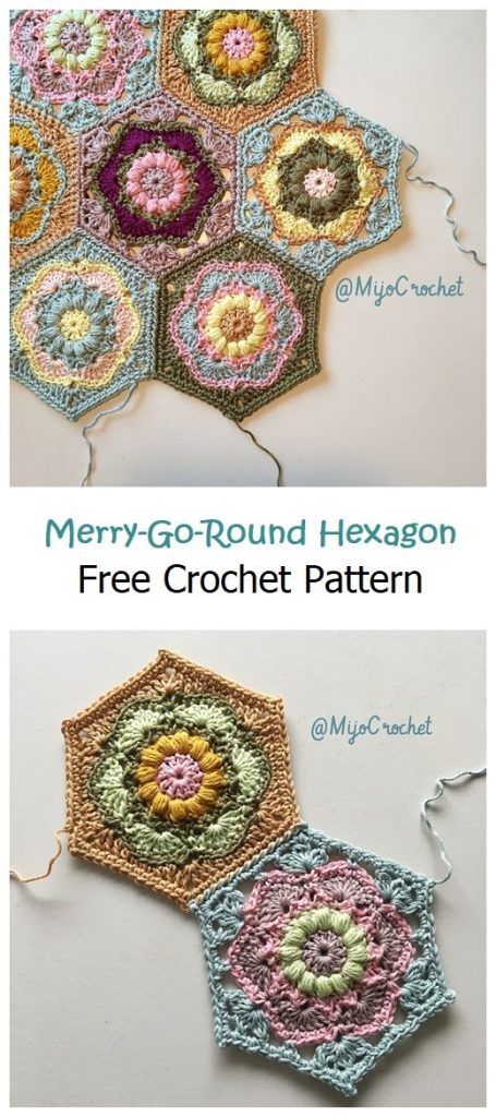 Merry-Go-Round Hexagon Free Crochet Pattern