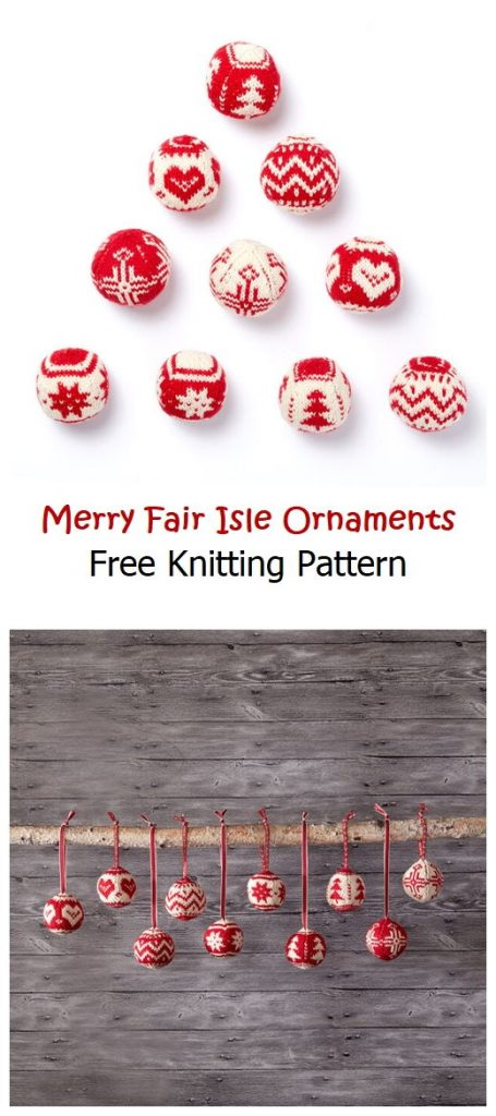 Merry Fair Isle Ornaments Free Knitting Pattern