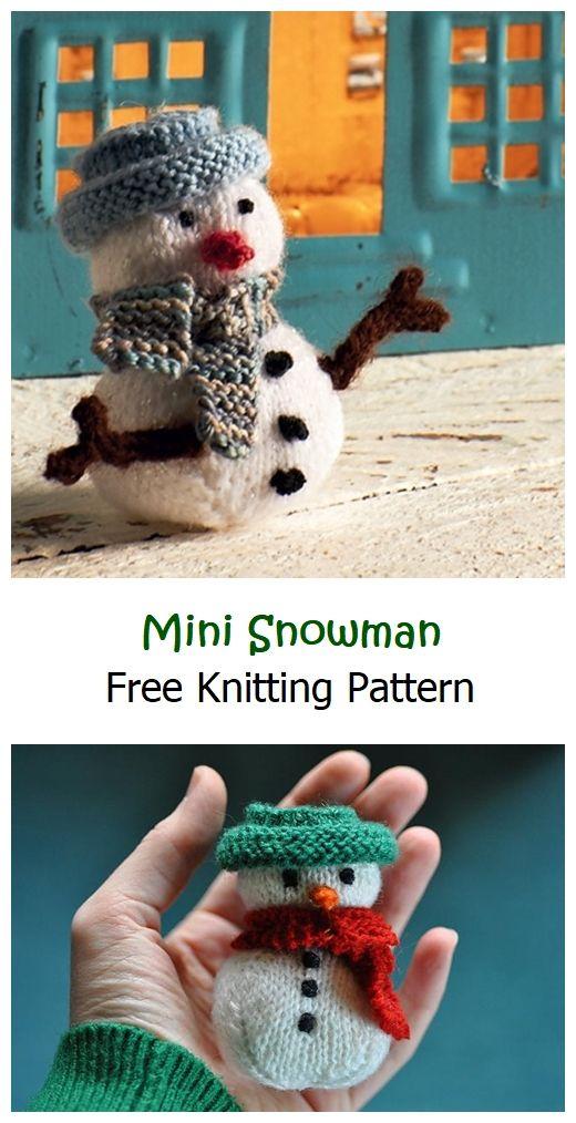 Mini Snowman Free Knitting Pattern
