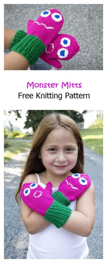 Monster Mitts Free Knitting Pattern