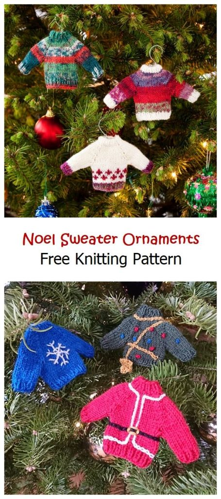Noel Sweater Ornaments Free Knitting Pattern