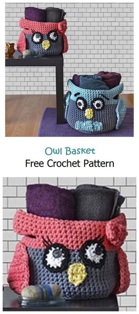 Owl Basket Free Crochet Pattern