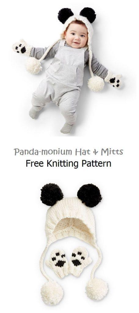 Panda-monium Hat & Mitts Free Pattern
