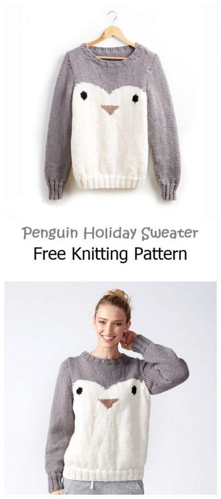 Penguin Holiday Sweater Free Knitting Pattern