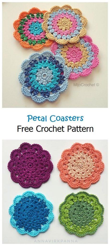 Petal Coasters Free Crochet Pattern