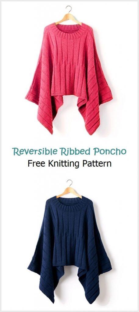 Reversible Ribbed Poncho Free Pattern