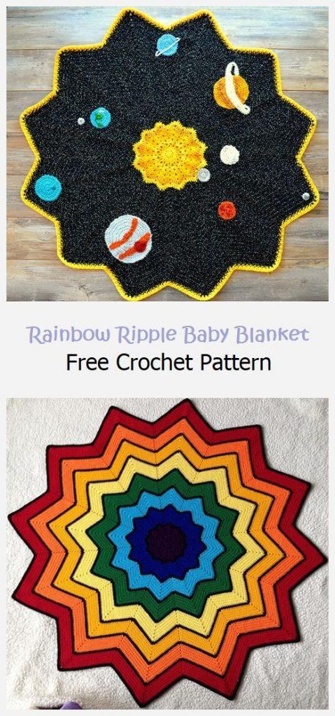 Rainbow Ripple Baby Blanket Free Pattern
