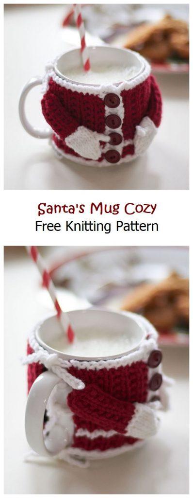 Santa's Mug Cozy Free Knitting Pattern