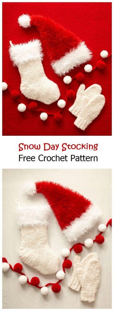 Snow Day Stocking Free Crochet Pattern