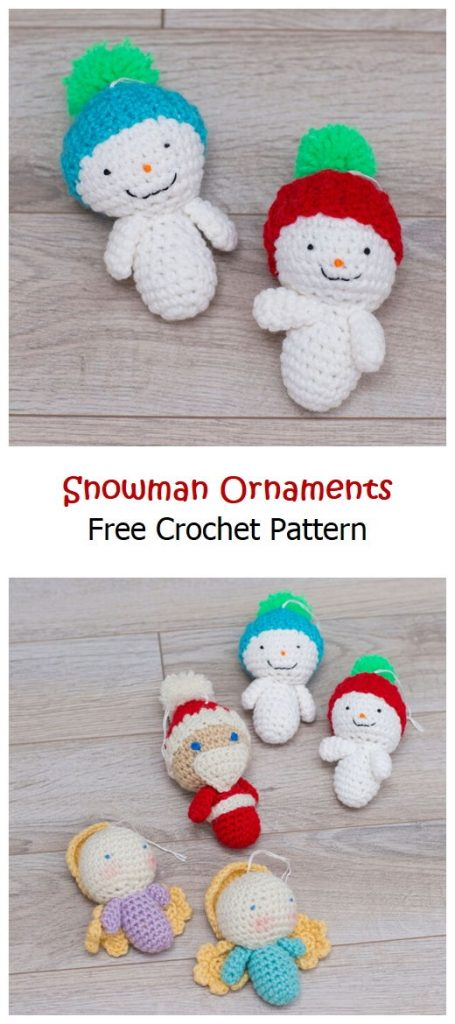 Snowman Ornaments Free Amigurumi Pattern