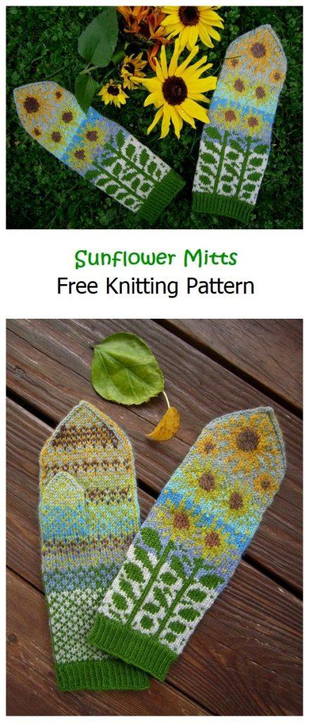 Sunflower Mitts Free Knitting Pattern